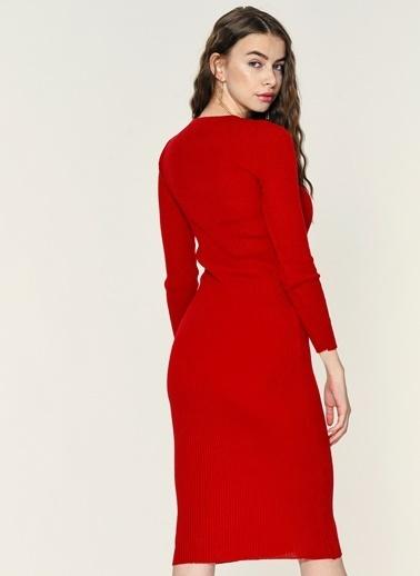 Loves You Uzun Kollu Triko Elbise Kırmızı